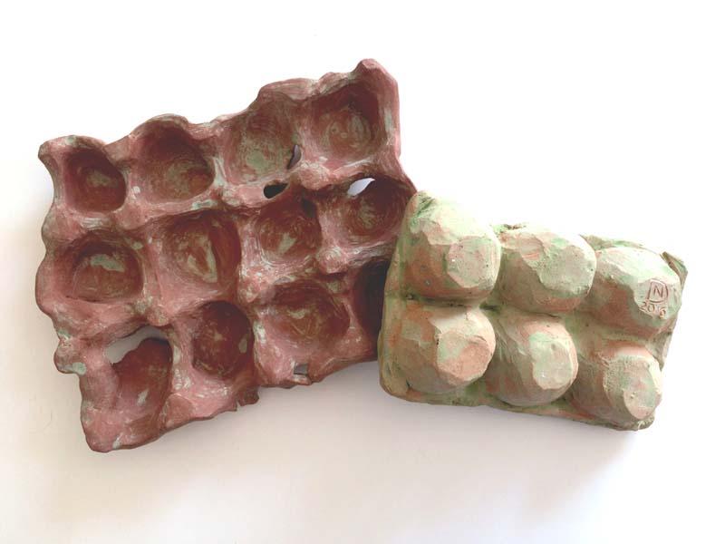 Caixa de ovos – esculturas – cerâmicas 1 e 3