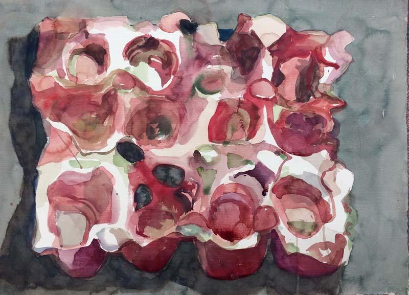Caixa de ovos – aquarela – vermelha papel roma
