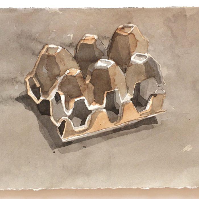 Caixa de ovos – aguada – nanquim e nogueira