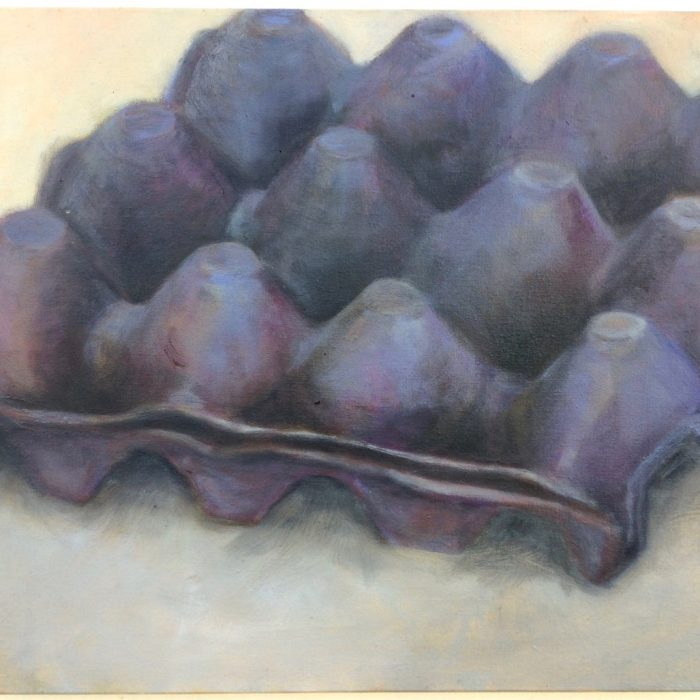 Caixa de ovos – óleo – roxa com fundo creme
