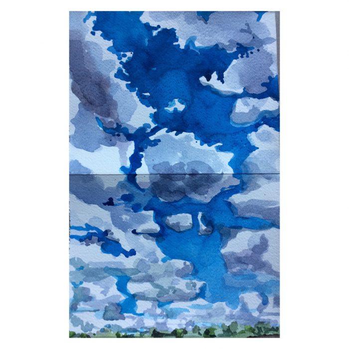 Céu no lago Paranoá – aquarela