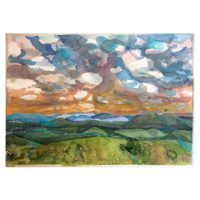 Vista do Morro Ovo da Pata – aquarela