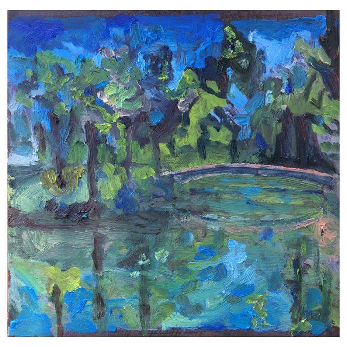 Ponte rosa Lago azul – óleo sobre bolo armênio
