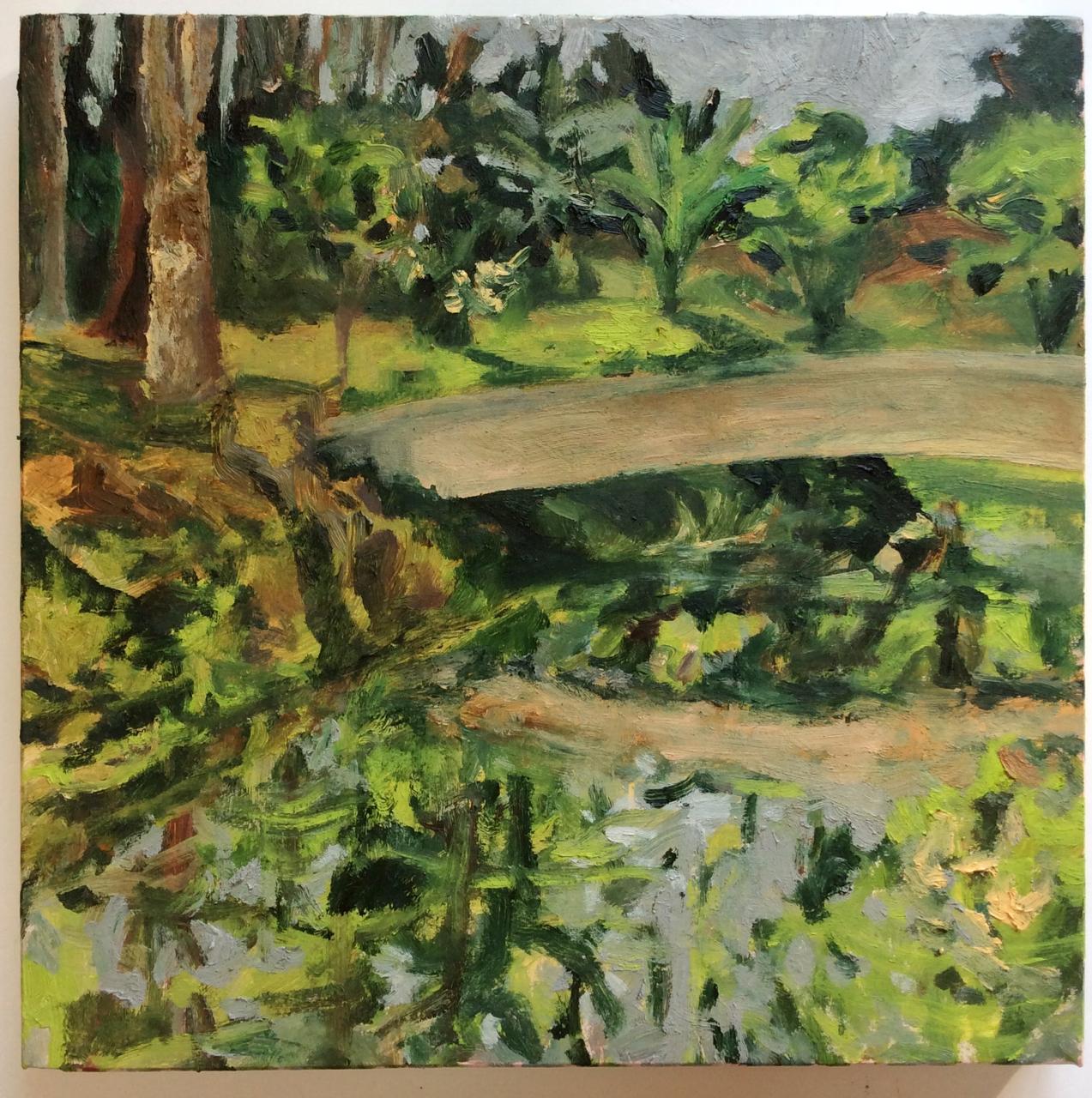 Ponte do lago com bananeiras – óleo sobre tela