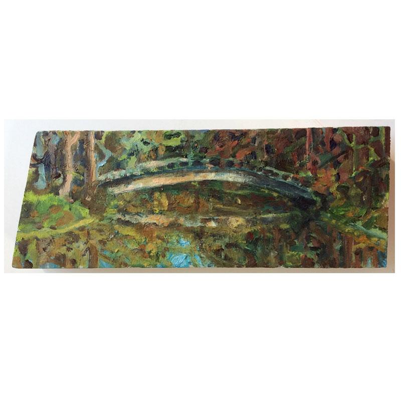 Ponte do lago sombreada – óleo sobre painel de madeira